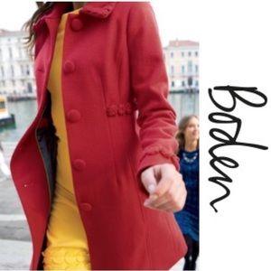 Boden Red Wool Coat